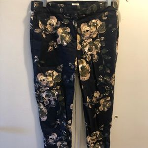 J Crew chino pants with floral design
